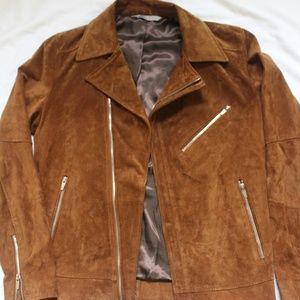 Zara Genuine Leather Suede Zip Biker Jacket Medium